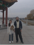Katie, Milo and Dan on Qufu waterfront